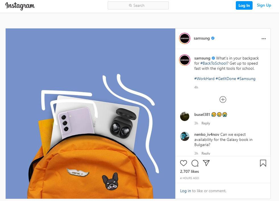 Capture d'écran du compte Instagram de Samsung