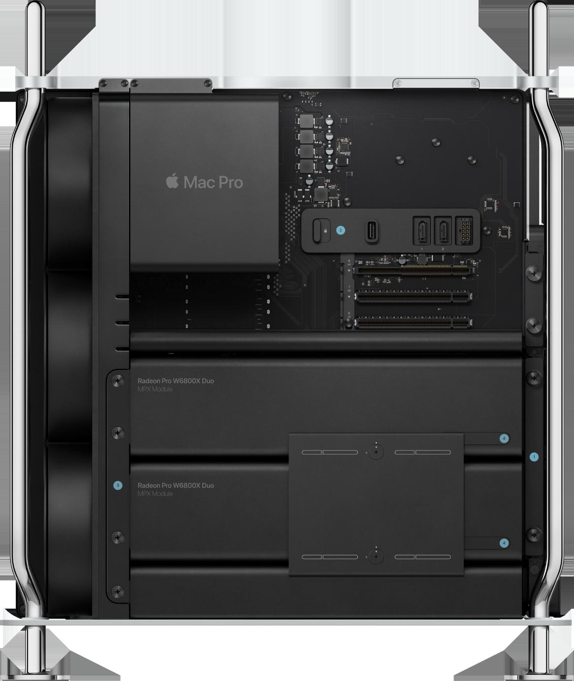 Le Mac Pro équipé de la Radeon Pro W800X Duo avec le format MPX