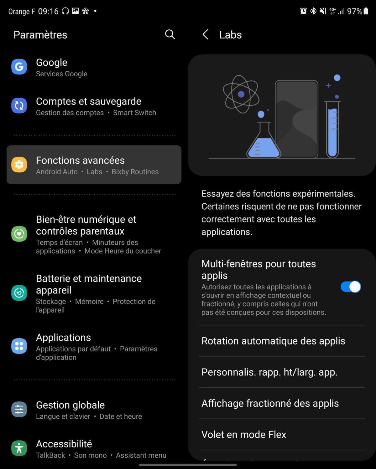 Menu Labs du Samsung Galaxy Z Fold 3