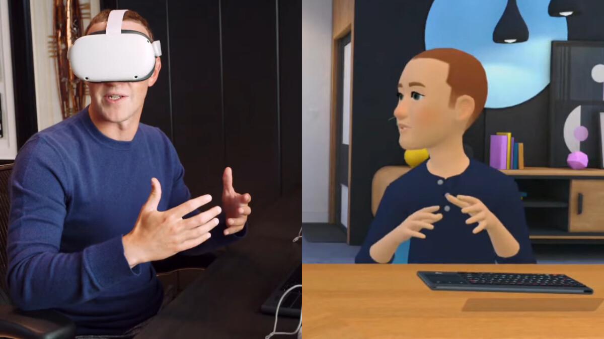 À gauche, Mark Zuckerberg avec un Oculus Quest. À droite, Mark Zuckerbeg avec des pixels.
