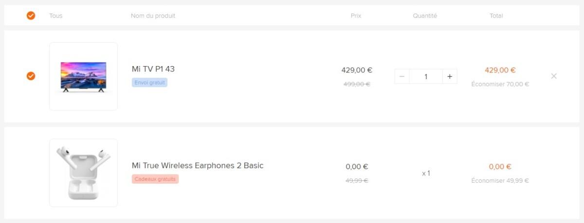 Esempio: Mi True Wireless Earphones 2 Basic viene aggiunto automaticamente dopo aver inserito Mi TV P1 43 nel carrello