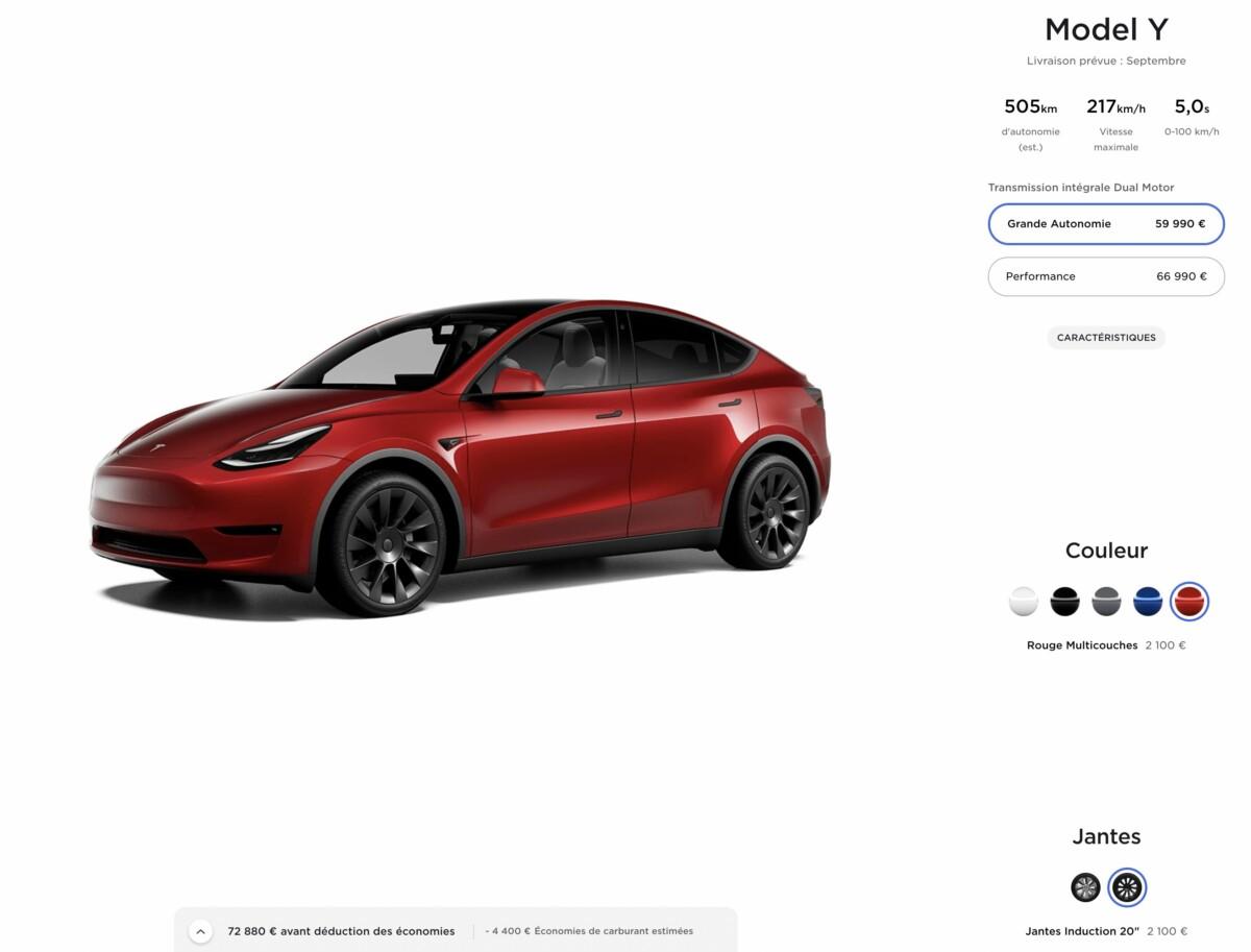 Le configurateur en ligne de la Tesla Model Y