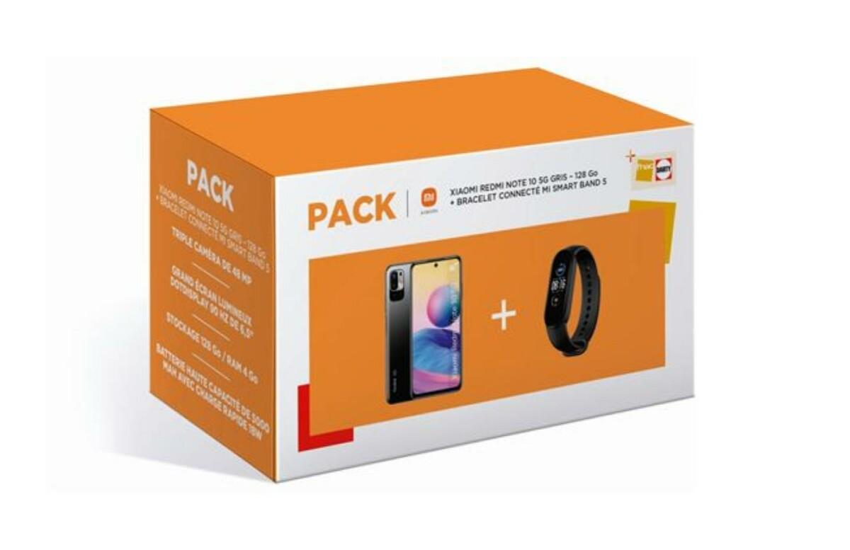 219 €, c'est le prix du pack Xiaomi Redmi Note 10 5G (128 Go) + Mi Smart Band 5 à la Fnac