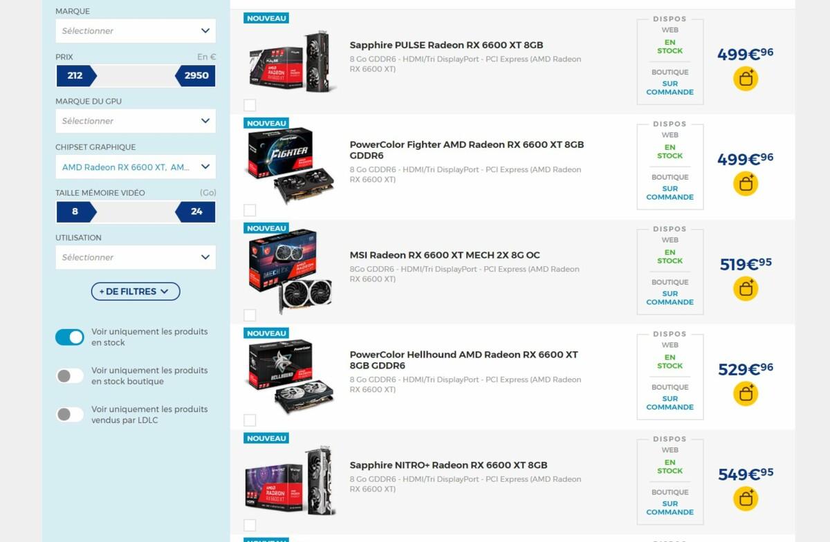 La Radeon RX6600 XT a une fonction exclusive: du stock