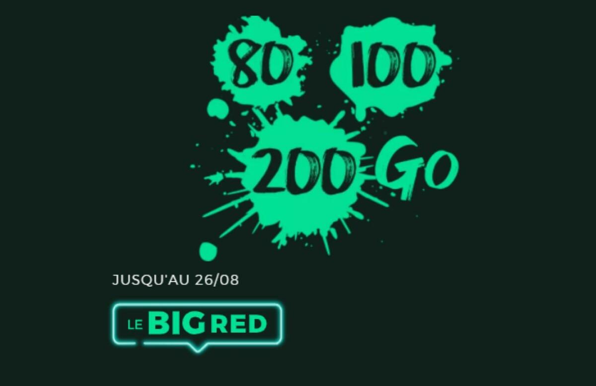 Illustration des forfaits 80, 100 et 200 Go chez RED