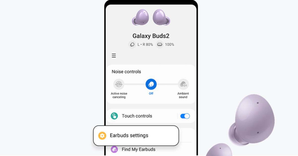 L'application Galaxy wearables s'adapte aux nouveaux Galaxy Buds 2 // Source : Samsung