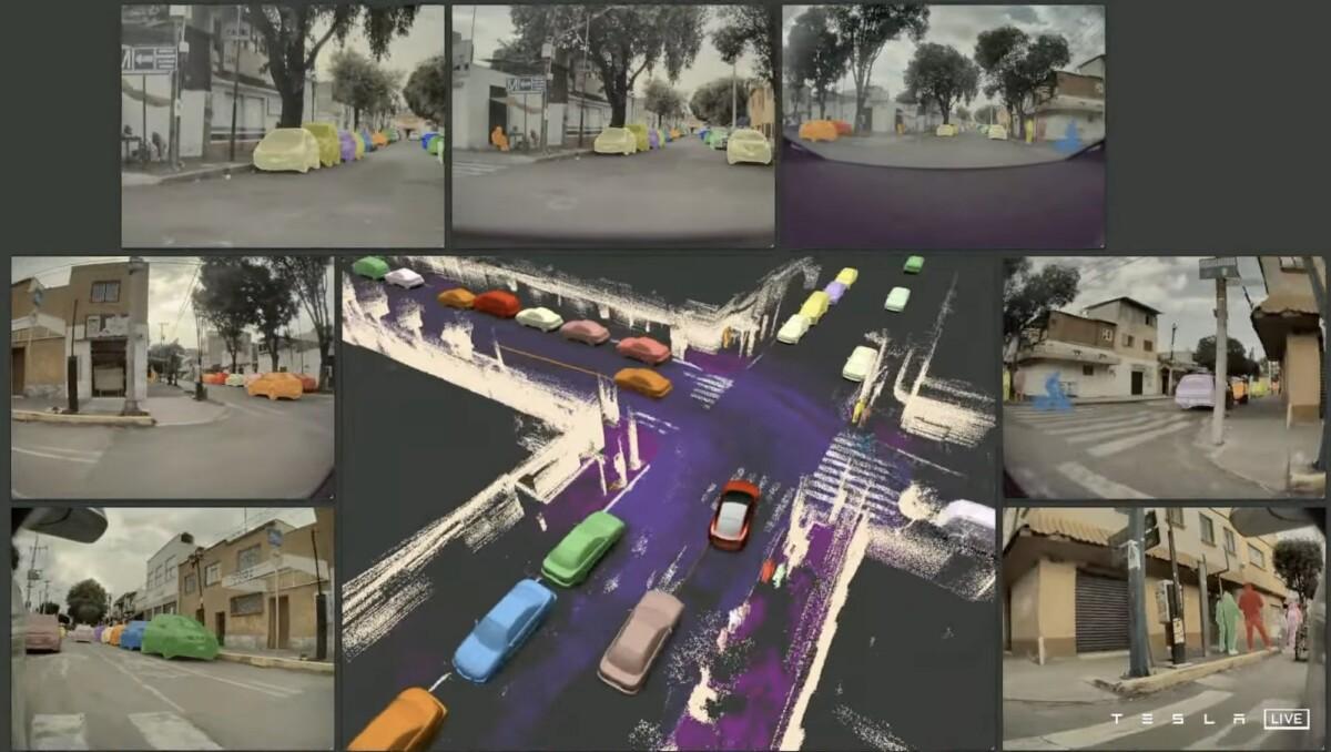 La visualisation d'une Tesla équipée de l'ordinateur de conduite entièrement autonome