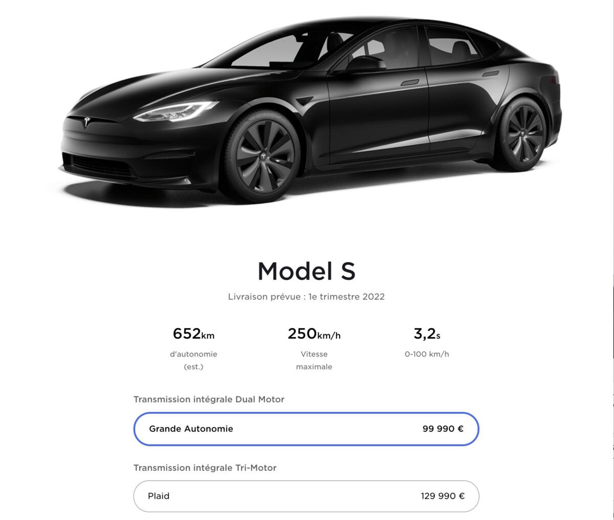 Le configurateur en ligne de la Tesla Model S