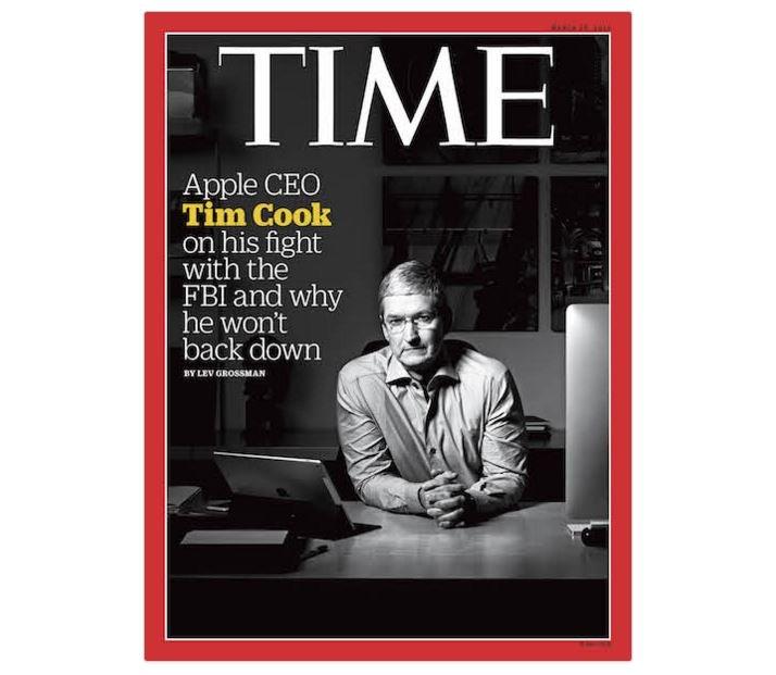Tim Cook en une après le massacre de San Bernardino (2016)