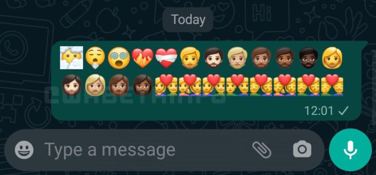 Petit aperçu d'une partie des 217 nouveaux émojis sur WhatsApp.