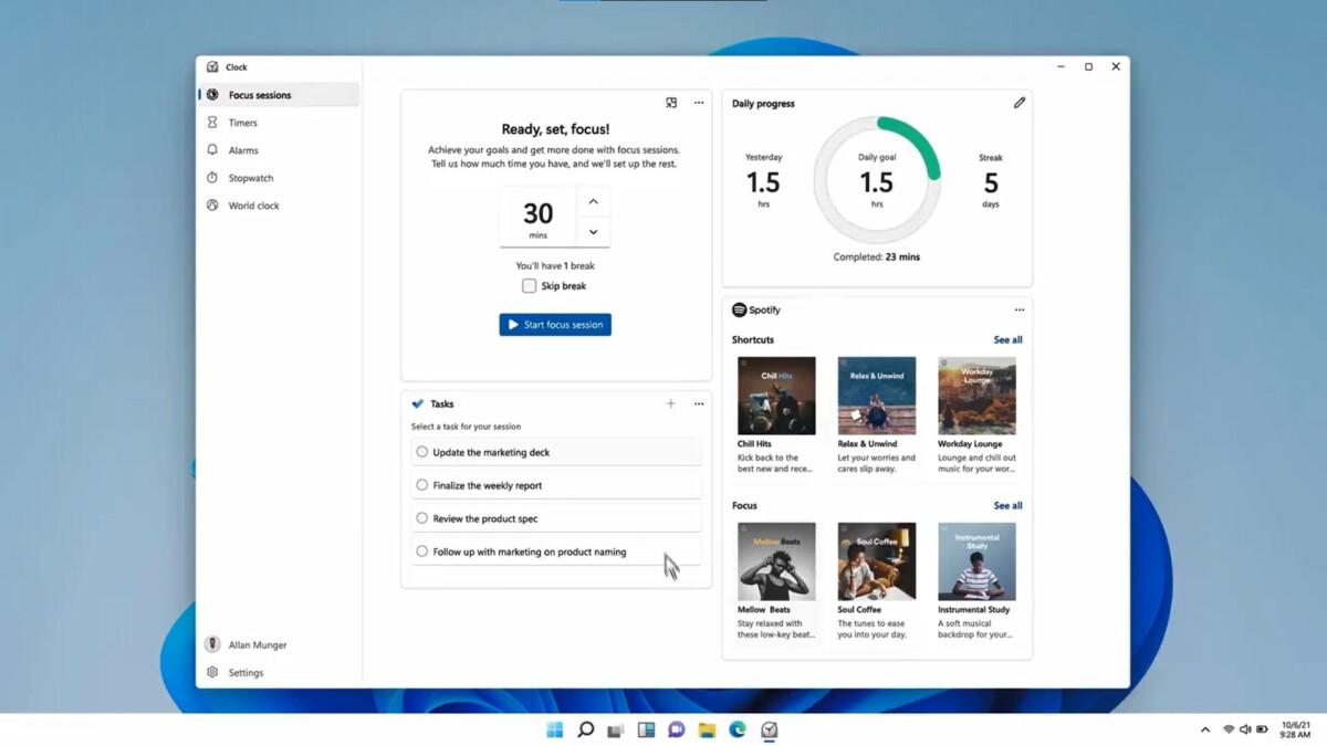 Les sessions de concentration dans Windows 11