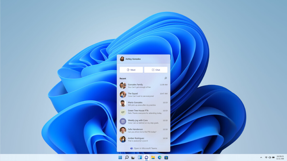 Teams can be accessed from the Windows 11 taskbar