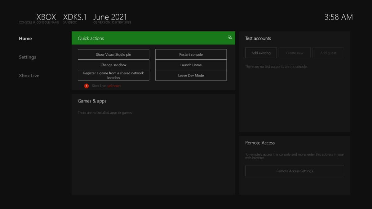 L'interface « Mode Developpeur » d'une Xbox