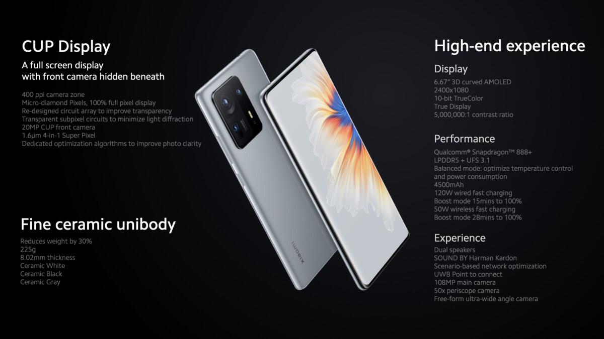 Xiaomi Mix 4 officialisé : grosse fiche technique et une caméra frontale qui promet d'être invisible