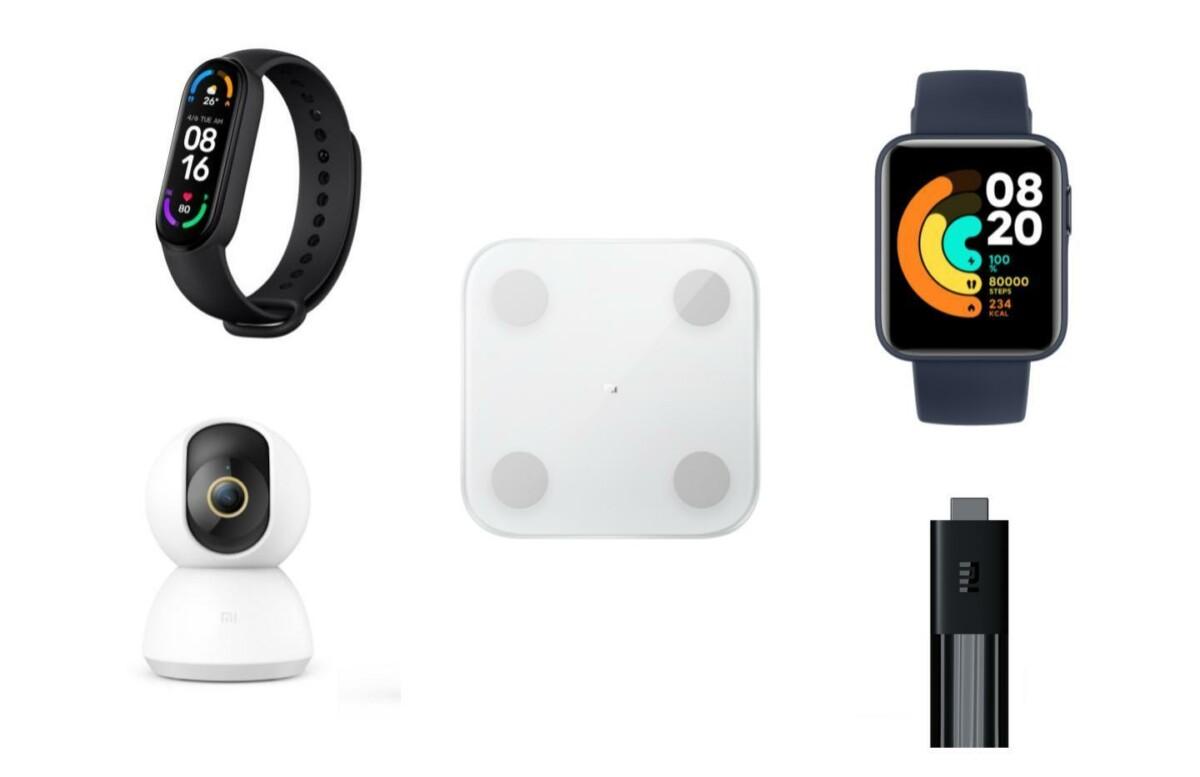 Dans l'ordre : le Mi Smart Band 6, la Mi Body Composition Scale 2, la Mi Watch Lite, la Mi 360° Home Security Camera 2K et le Mi TV Stick.