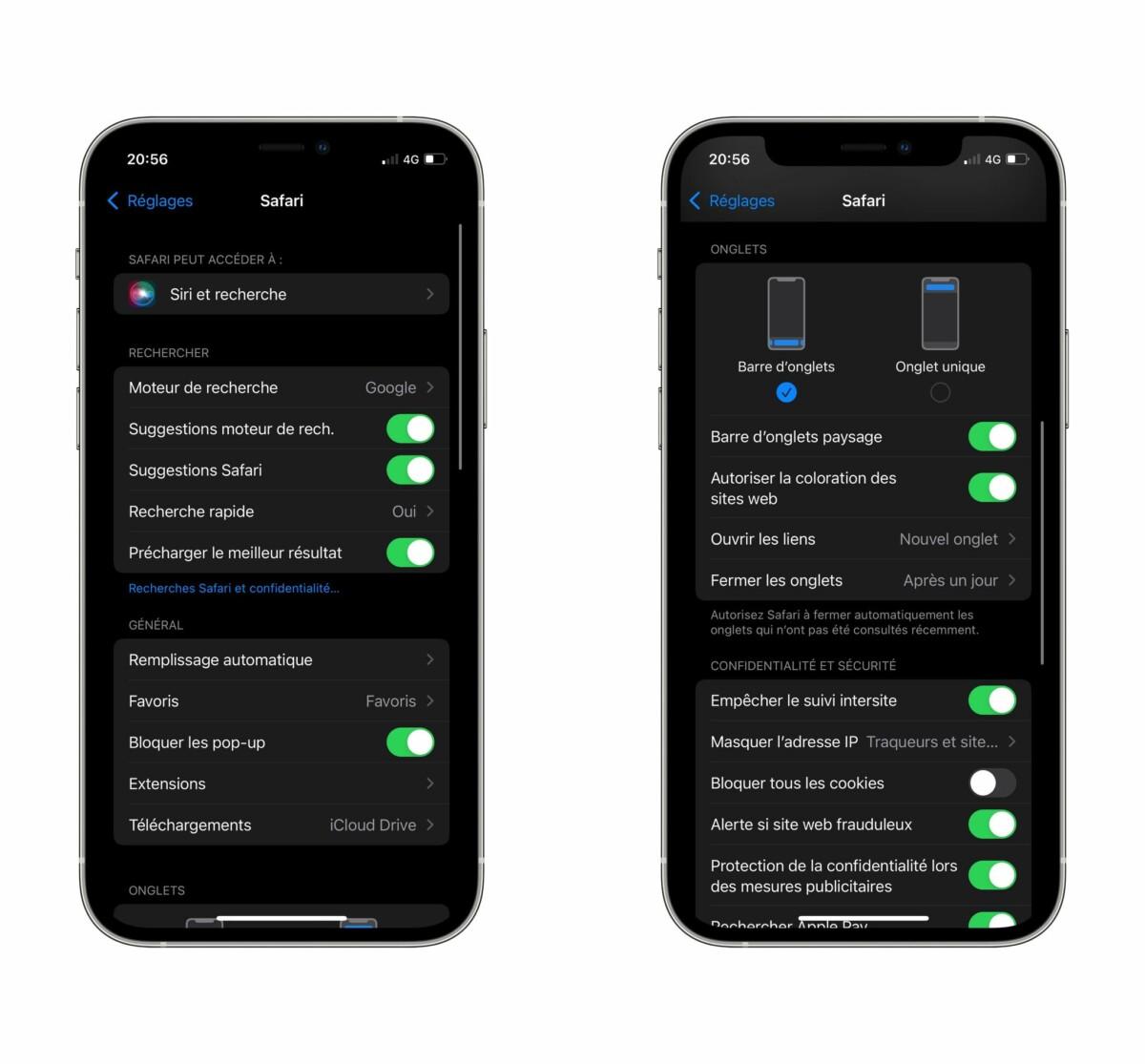 iOS 15 : comment remettre la barre d'adresses en haut sur Safari ?