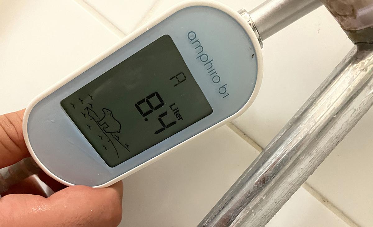 Après chaque douche, vous avez une note de A+ à G et un résumé de votre consommation qui s'affiche.