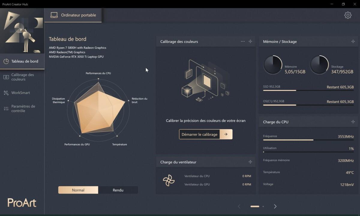 L'application Asus ProArt Creator Hub