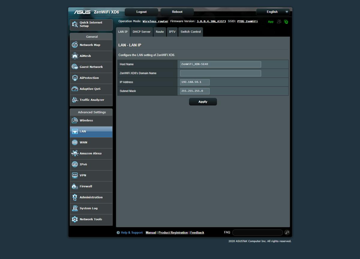 Interface web Asus