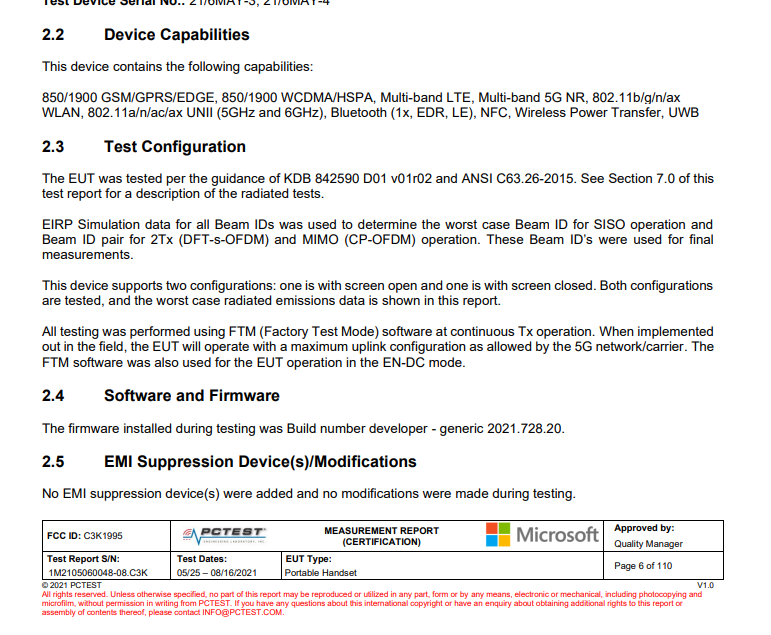 In the certification documents with the FCC, one can see many details.