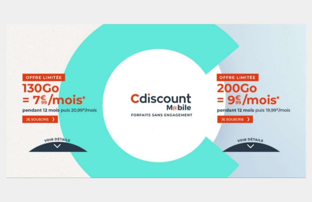 Les offres pour les forfaits 130 Go et 20 Go chez Cdiscount mobile.