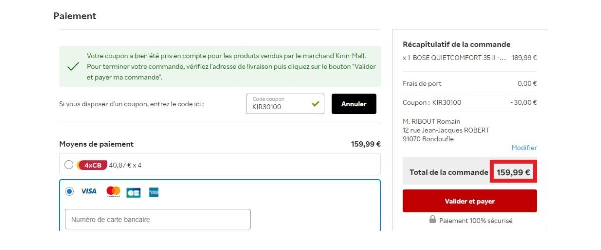 Le Bose QC 35 II passe à 159,99 € avec le code promo