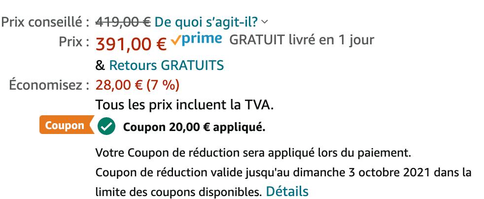 Source // Amazon : coupon de réduction à appliquer avant l'ajout au panier