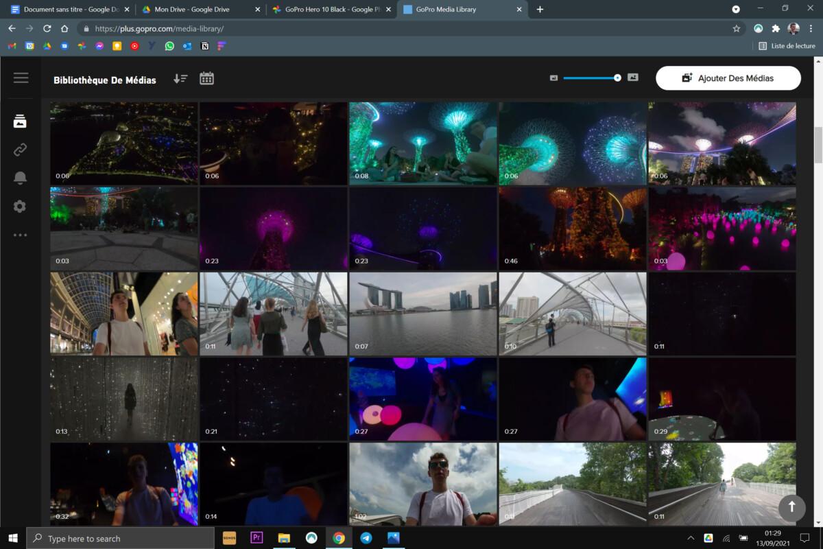 L'interface cloud du service GoPro