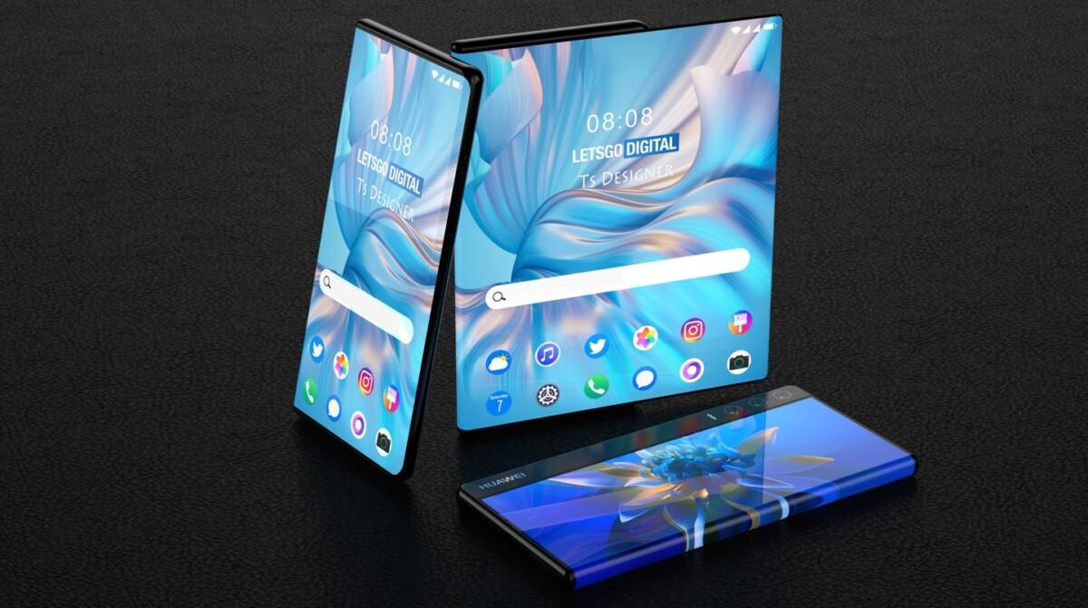 Rendus du supposé smartphone à écran déroulant de Huawei réalisé par TS Designer pour Let's Go Digital