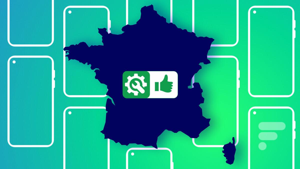 La forme de la France et le logo de l'indice de réparabilité