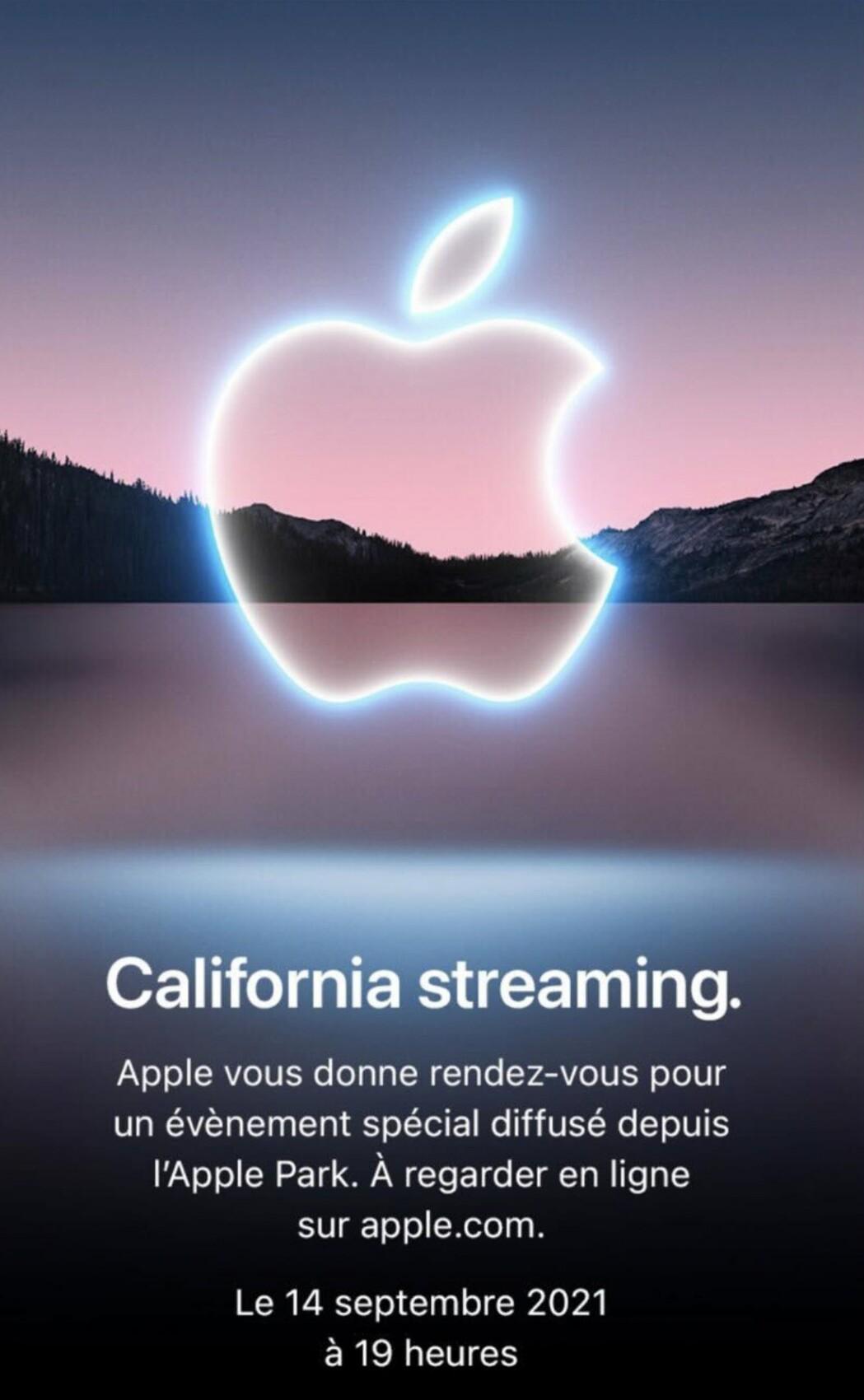 L'invitation à la keynote Apple de septembre 2021