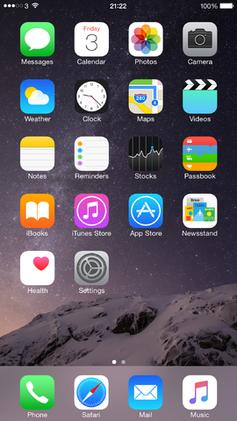 Le fond d'écran par défaut sur iOS8 et iOS9