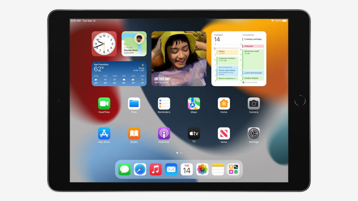Widgets de la página de inicio en el nuevo Apple iPad 9 (2021)