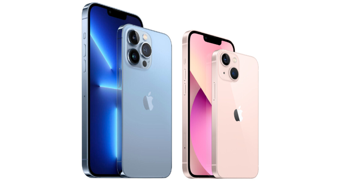 De gauche à droite : les iPhone 13 Pro Max, iPhone 13 Pro, iPhone 13 et iPhone 13 mini