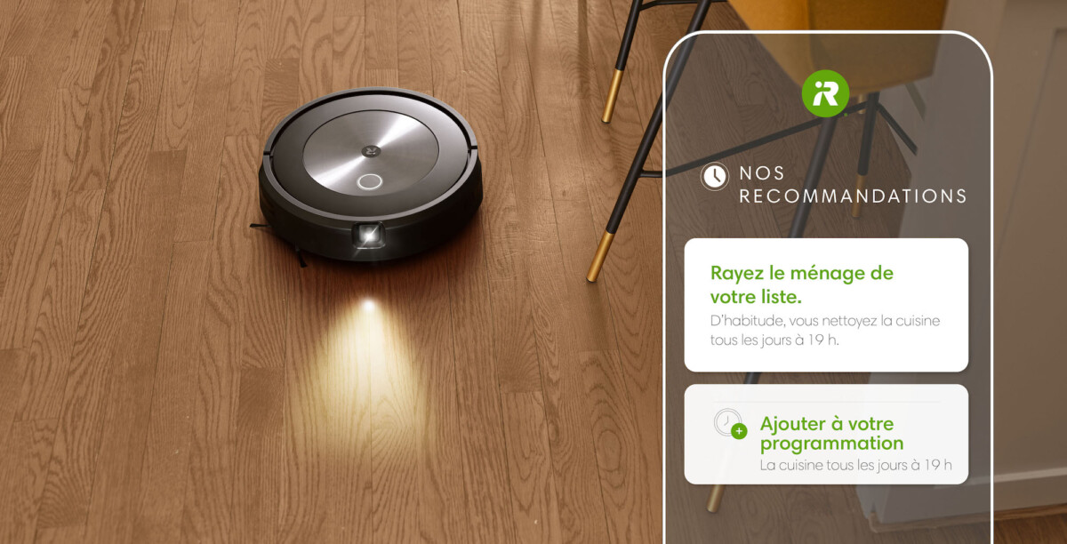 L'aspirateur robot Roombaj7/j7+ vous fait des recommandations d'actions à lui faire faire