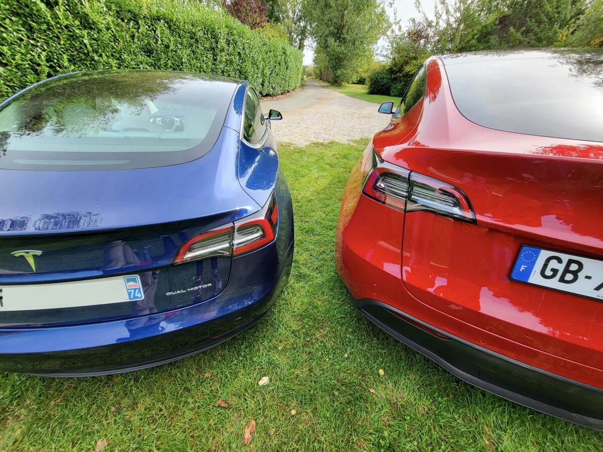À gauche, la Tesla Model 3, et à droite, la Tesla Model Y