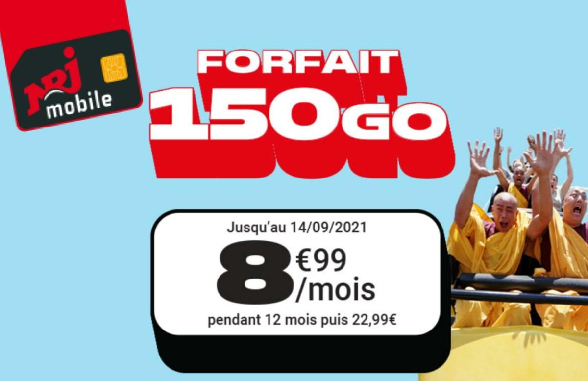 NRJ MObile 150 Go à 8,99 euros par mois