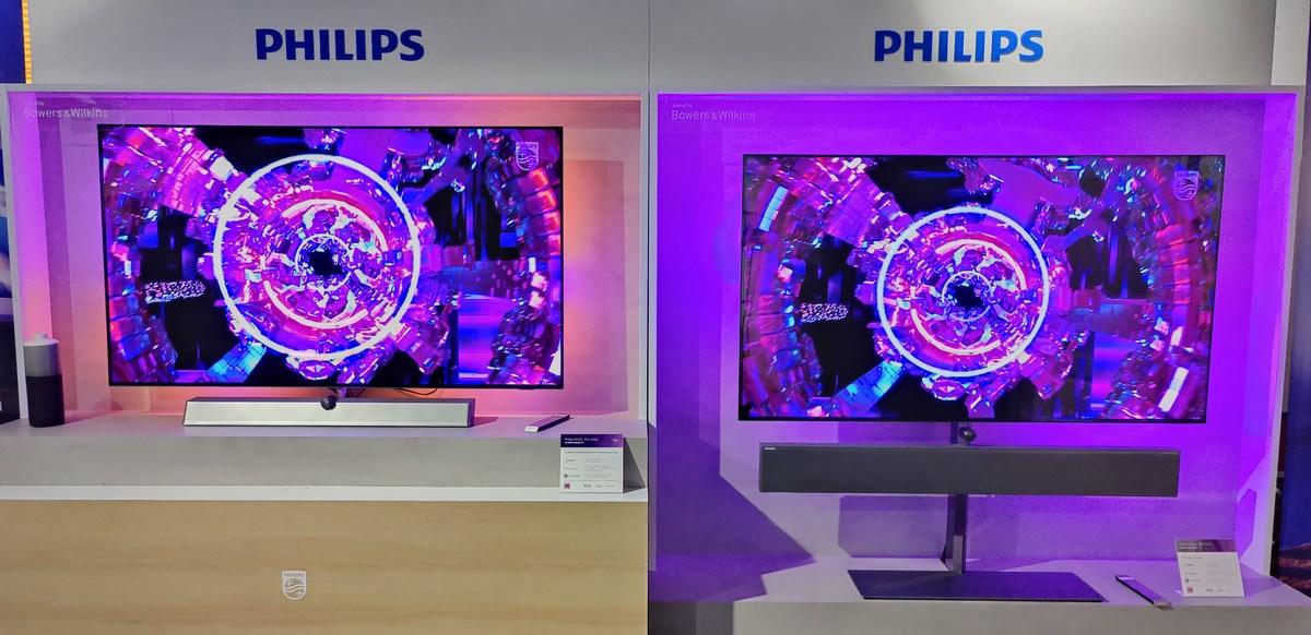 À gauche la Philips65OLED936 et à droite, la Philips65OLED986.