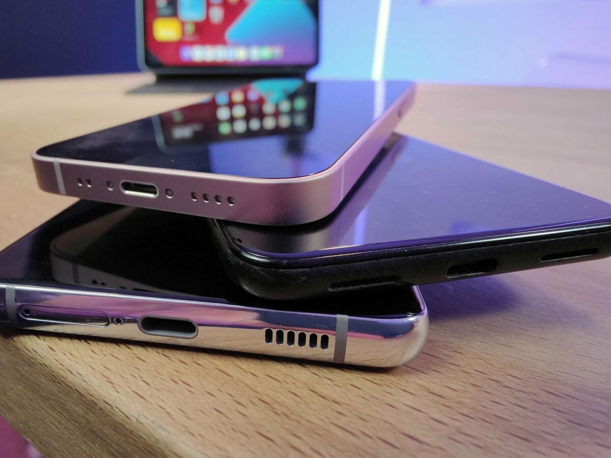 stapel van drie smartphones