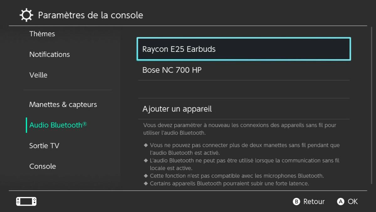 La nouvelle interface Audio Bluetooth de la Nintendo Switch.