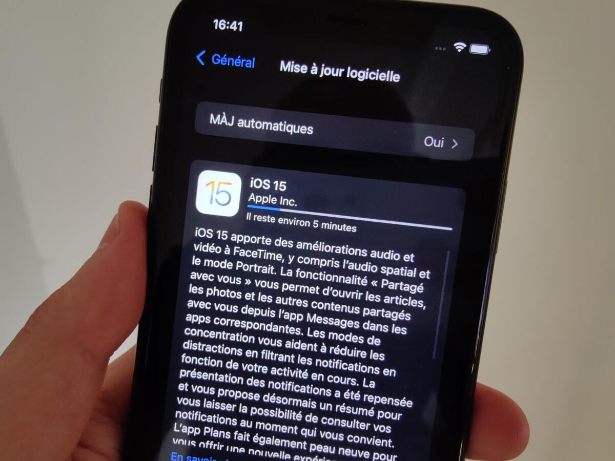 Mise à jour d'un iPhone sous iOS 15