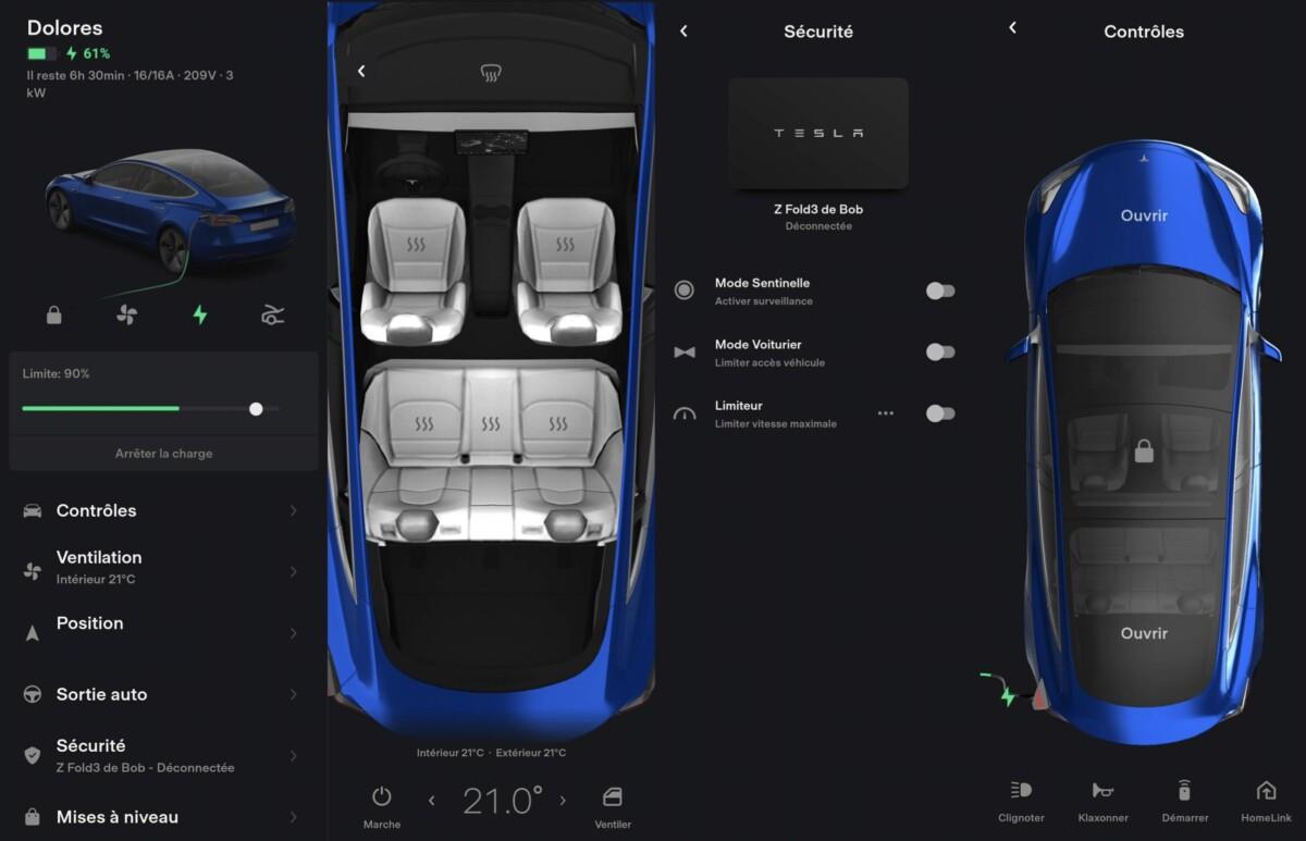 L'application Tesla sur Android