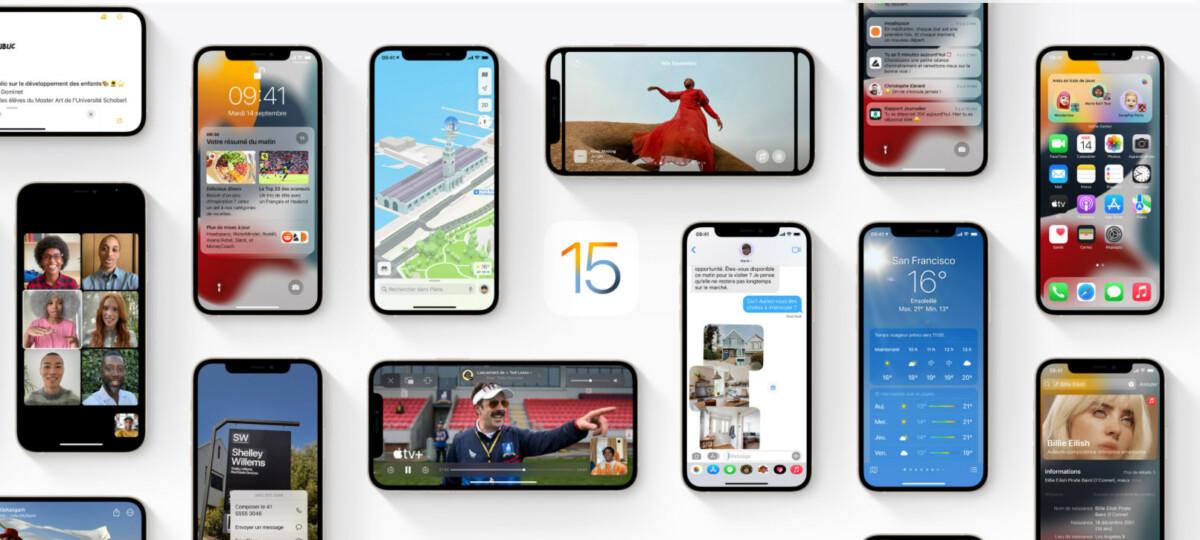 La page de présentation d'iOS 15.