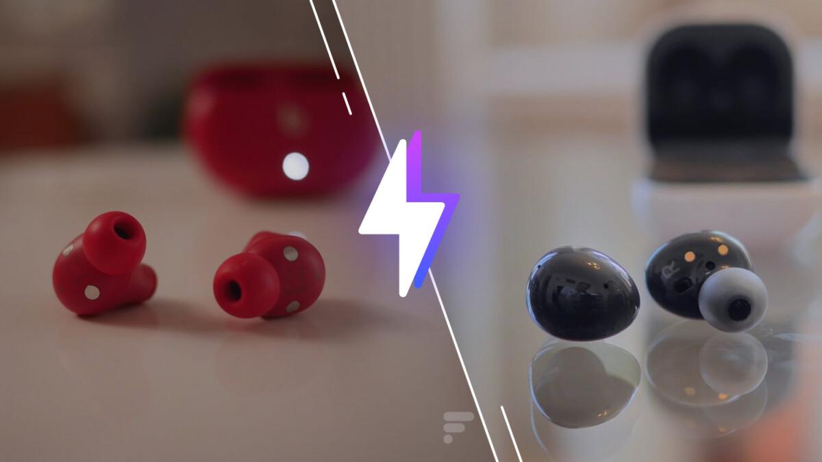 À gauche: les Beats Studio Buds. À droite: les Samsung Galaxy Buds2. //Source: Frandroid