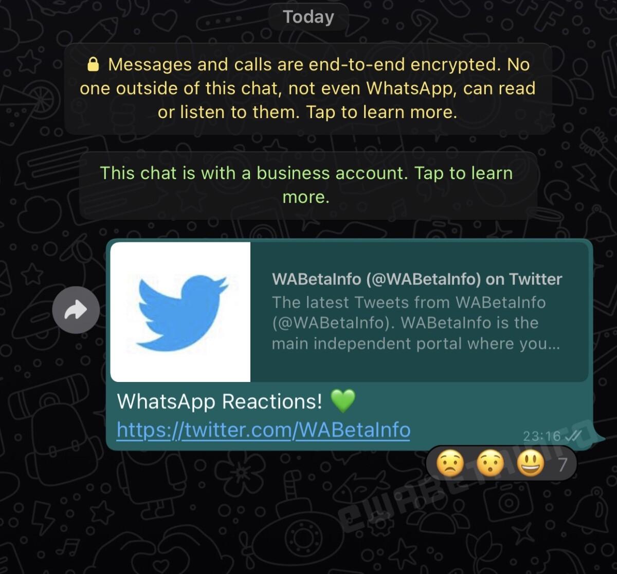 Capture d'écran d'une réaction à un message