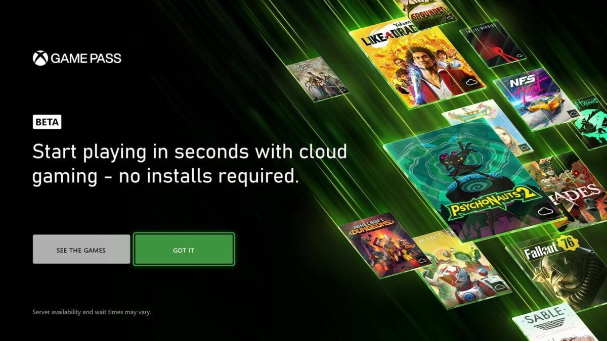 Cloud gaming sur Xbox Game Pass
