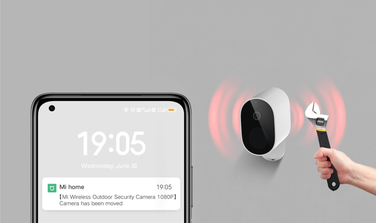 Notification envoyée par la Xiaomi Mi Wireless Outdoor Security Camera 1080p