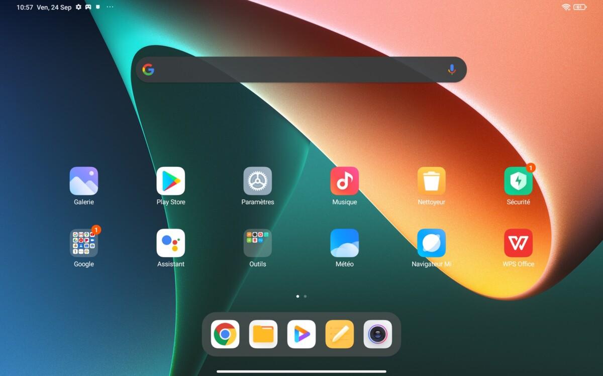 L'écran d'accueil de la Xiaomi Pad 5