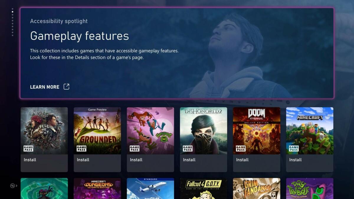 Le futur menu Accessibilité sur Xbox