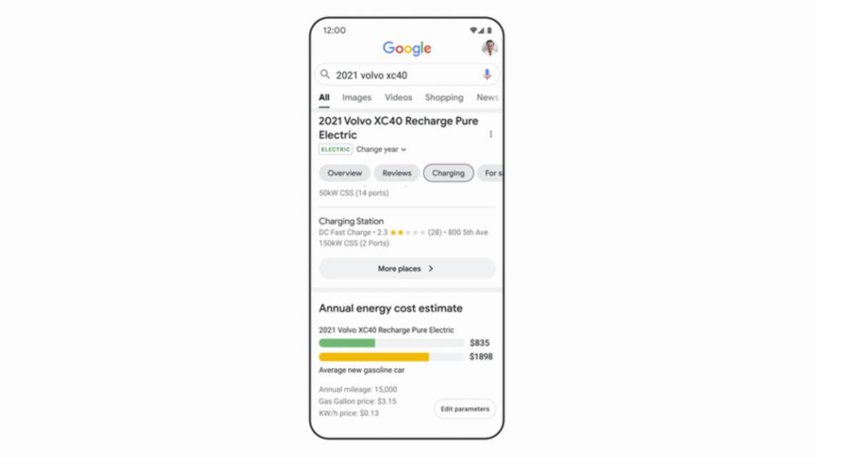 Google affiche des infos pratiques sur les modèles de voiture